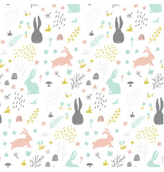 Childish seamless pattern with bunny hand drawn vector