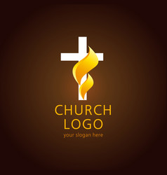 Church flame cross logo vector