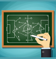 Coach draws tactics play in football vector