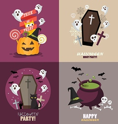 Collection of Halloween party greeting card vector