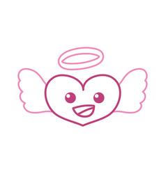 Color line happy heart angel kawaii cartoon vector