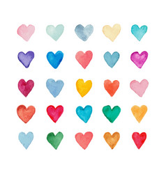 Colored hearts collection vector