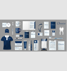 Corporate stomatology dentist center branding vector