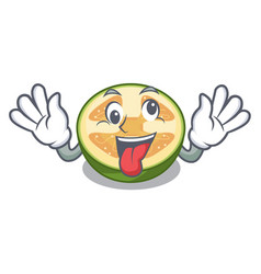 crazy fruit feijoa isolated on the mascot vector image
