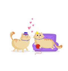 cute cartoon cats boy and girl in love print vector image
