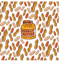 Cute seamless pattern with peanuts and butter jar vector