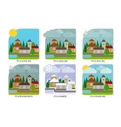 Different weather in the town vector image