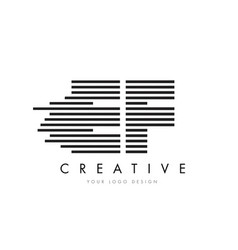 ef e f zebra letter logo design with black and vector image