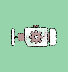 Flat icon design collection engine and gear vector