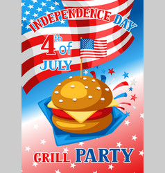 Fourth july independence day grill party banner vector