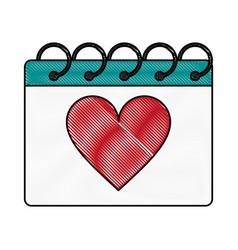 gift heart flat scribble vector image