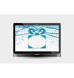 Gift with ribbons and confetti on laptop screen vector