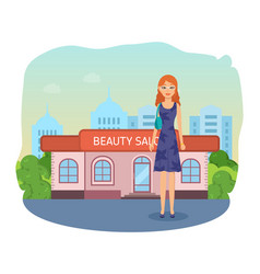 girl on background of fashionable beauty salon vector image