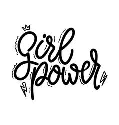 girl power lettering phrase for postcard banner vector image