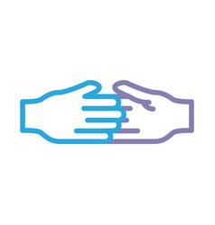 Handshake solidarity line style icon vector