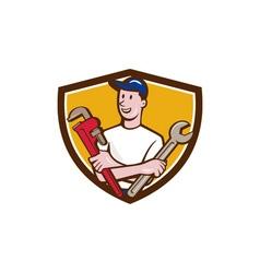 Handyman Spanner Monkey Wrench Crest Cartoon vector