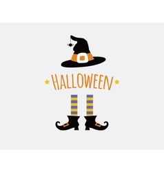 happy halloween card design with witchlegs and hat vector image