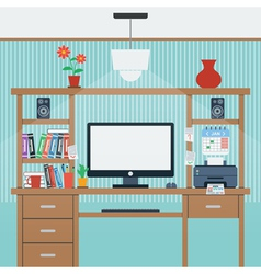 Home workplace flat vector image