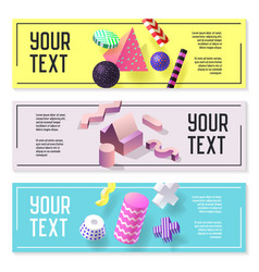 horizontal banners set with geometric 3d shapes vector image