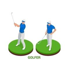 Isometric golfer Sport design elements vector