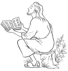 Jesus reading the bible coloring page vector