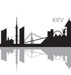 Kiev City skyline black and white silhouette vector