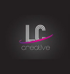 Lc l c letter logo with lines design and purple vector