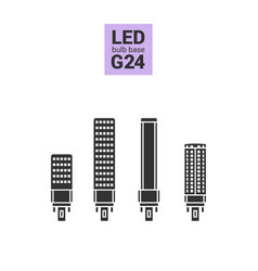 led light g24 bulbs silhouette icon set vector image