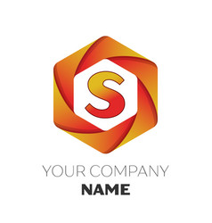 Letter s logo symbol on colorful hexagonal vector