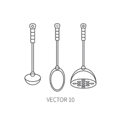 Line flat kitchenware icons - spoon scoop vector