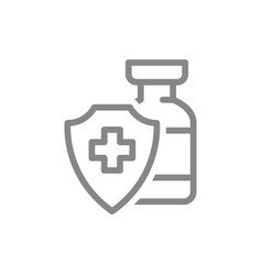 Medical ampoule and shield with cross mark line vector