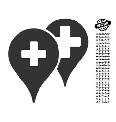 Medical map markers icon with work bonus vector