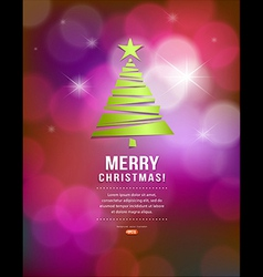 Merry Christmas green tree paper design vector image