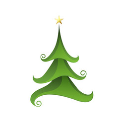 merry christmas tree isolated on white vector image