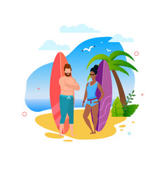 Multiracial surfers couple standing on sunny beach vector