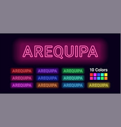 Neon name of arequipa city vector
