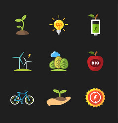 Nine flat eco icons vector