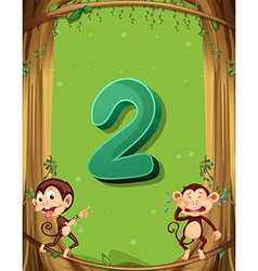 Number two with 2 monkeys on tree vector