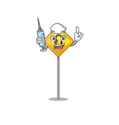 Nurse u turn sign shaped cartoon vector