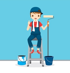 Painter On Ladder Front Of Wall vector image