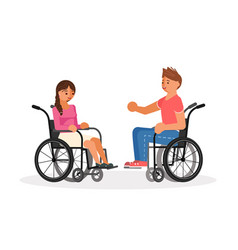 Pair of wheelchair disabled people vector