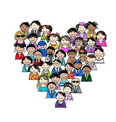 People icons heart shape for your design vector image