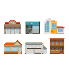 public buildings exteriors collection city street vector image
