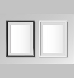 realistic black and white frames for paintings vector image