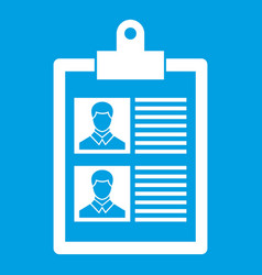 Resume of two candidates icon white vector