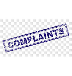 Scratched complaints rectangle stamp vector