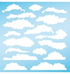 Set fluffy clouds for design layouts vector