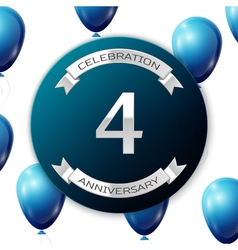 Silver number four years anniversary celebration vector