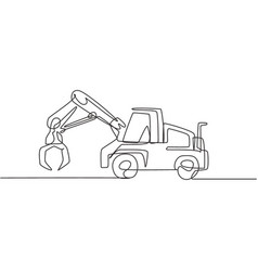 single continuous line drawing metal excavator vector image