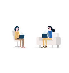 smiling women with modern laptops vector image